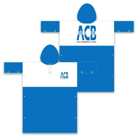 Mẫu thiết kế áo mưa quà tặng của ngân hàng ACB