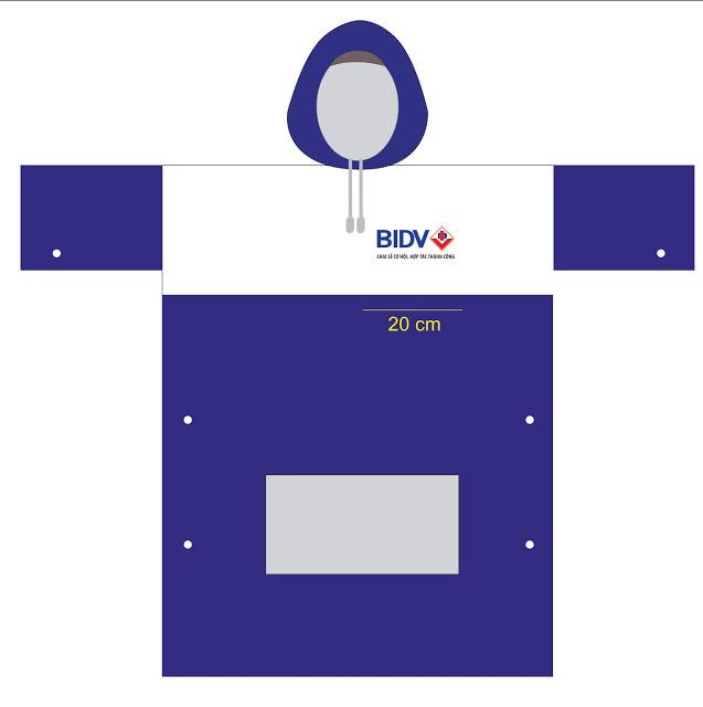 Mẫu thiết kế áo mưa quà tặng của ngân hàng BIDV