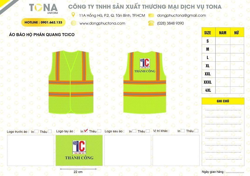 Mẫu áo bảo hộ phản quang TCICO