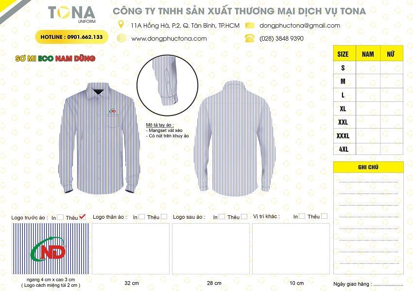 Mẫu áo sơ mi Cty Eco Nam Dũng 1