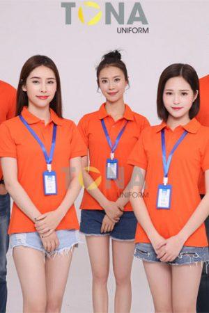 Áo thun cổ bẻ màu da cam