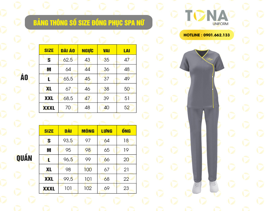 thông số size áo spa tona