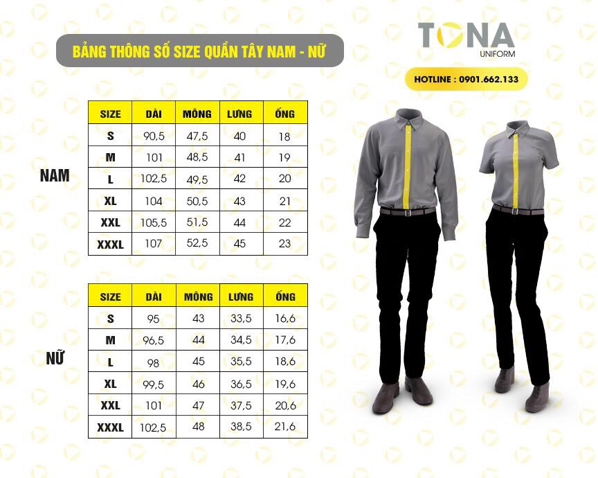 Thông số size quần tây nam nữ tona