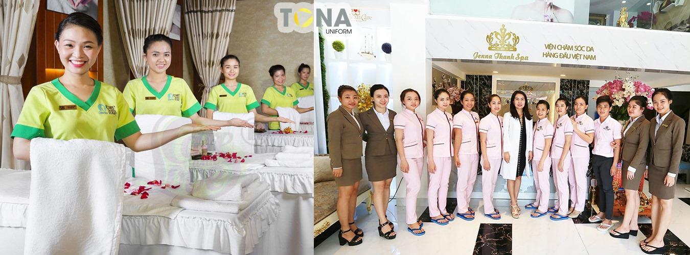 Xưởng công ty may mẫu quần áo đồng phục SPA đẹp tại TPHCM