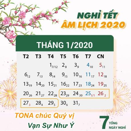 Lịch nghỉ Tết âm lịch Canh Tý 2020