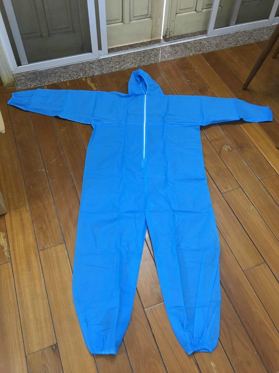 quần áo bảo hộ Y tế phòng chống dịch dùng 1 lần màu xanh 3
