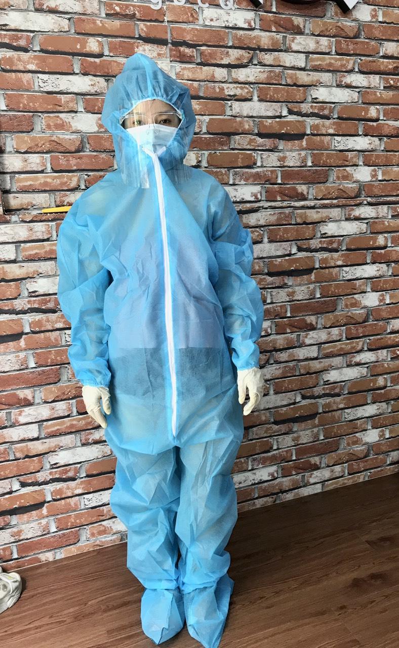 quần áo bảo hộ Y tế phòng chống dịch dùng 1 lần màu xanh