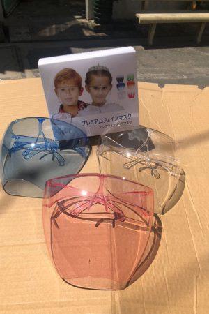 Tấm kính bảo hộ che mặt Y tế chắn giọt bắn màu xanh trắng hồng